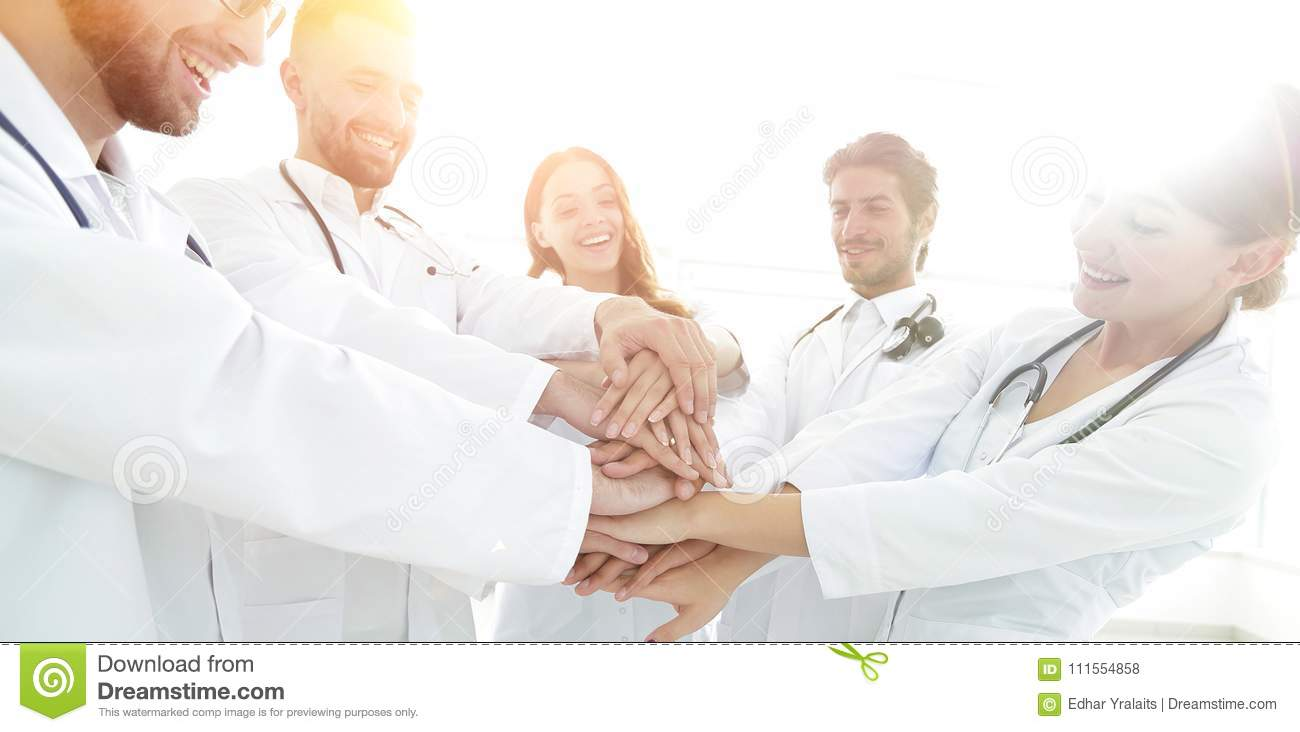 Group Of Medical Interns Shows Their Unity Stock Photo ...