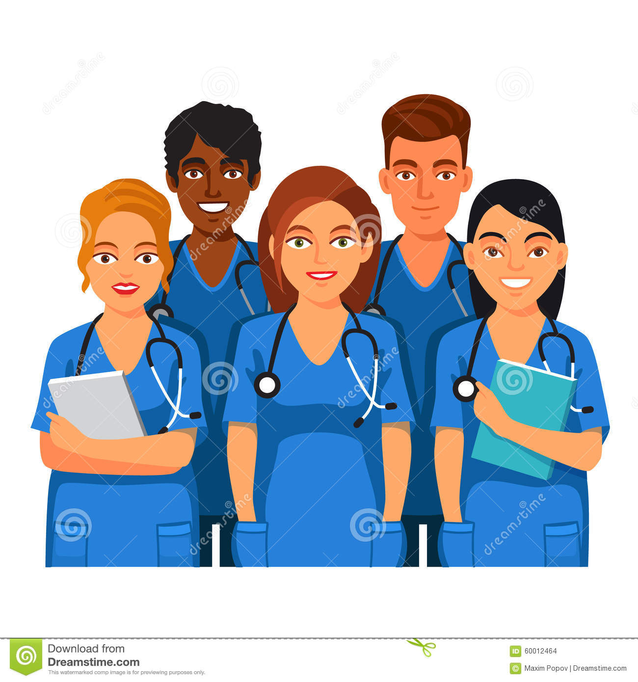 Group Of Medical Students, Nurses Or Interns Stock Vector