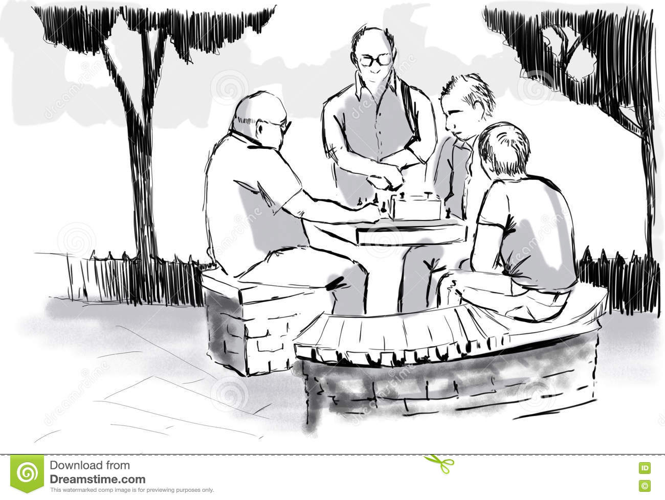 A group of men playing chess.