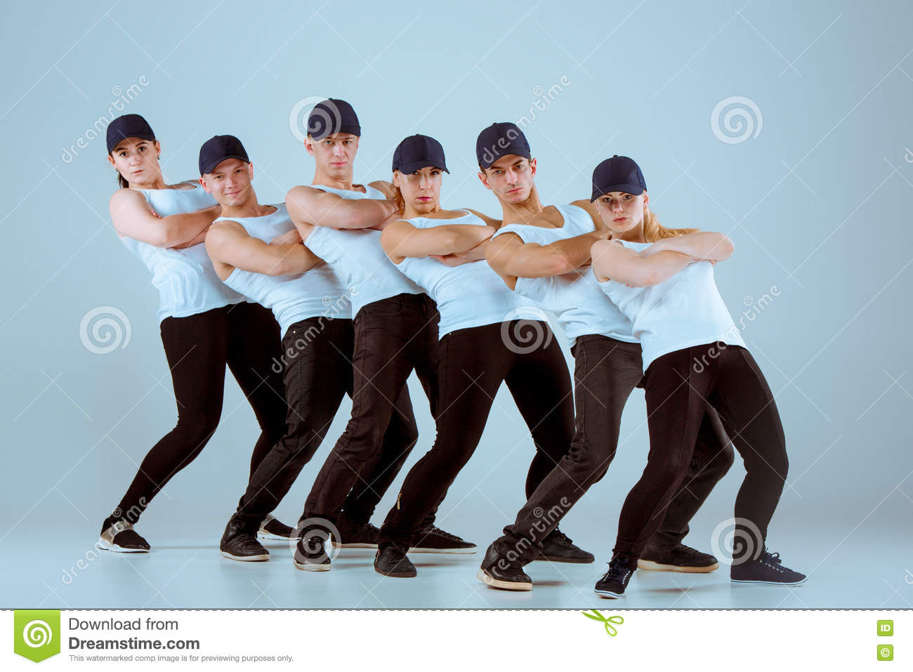 Group Of Men And Women Dancing Hip Hop Choreography Stock ...