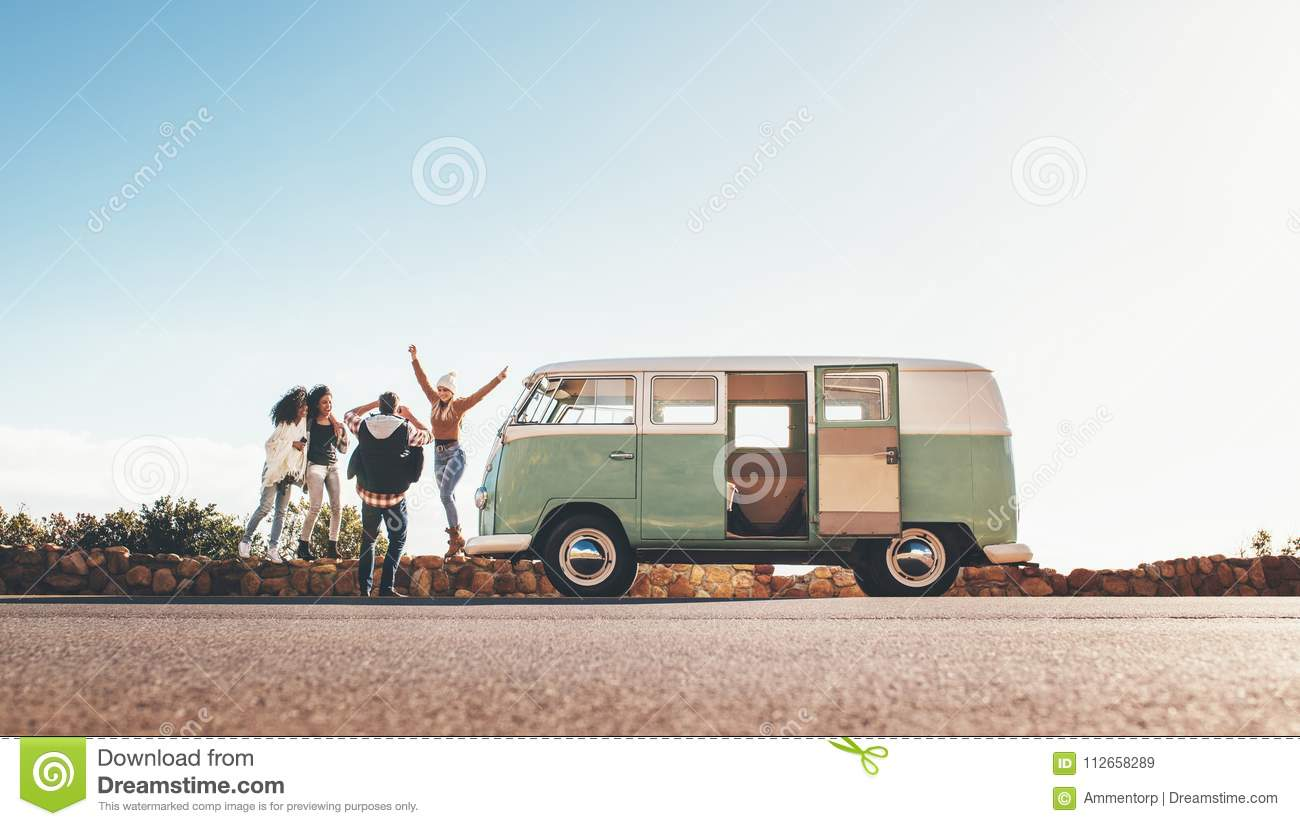 Friends On Roadtrip Taking Pictures On Highway Stock Image Image Of Road Enjoying 112658289