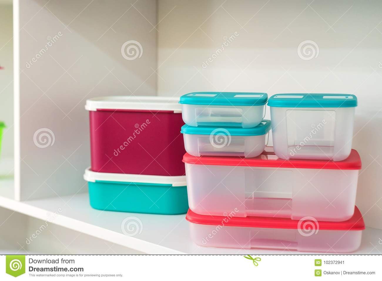 containers up colorful stock on group image boxes food of close royalty modern shelf photo free plastic