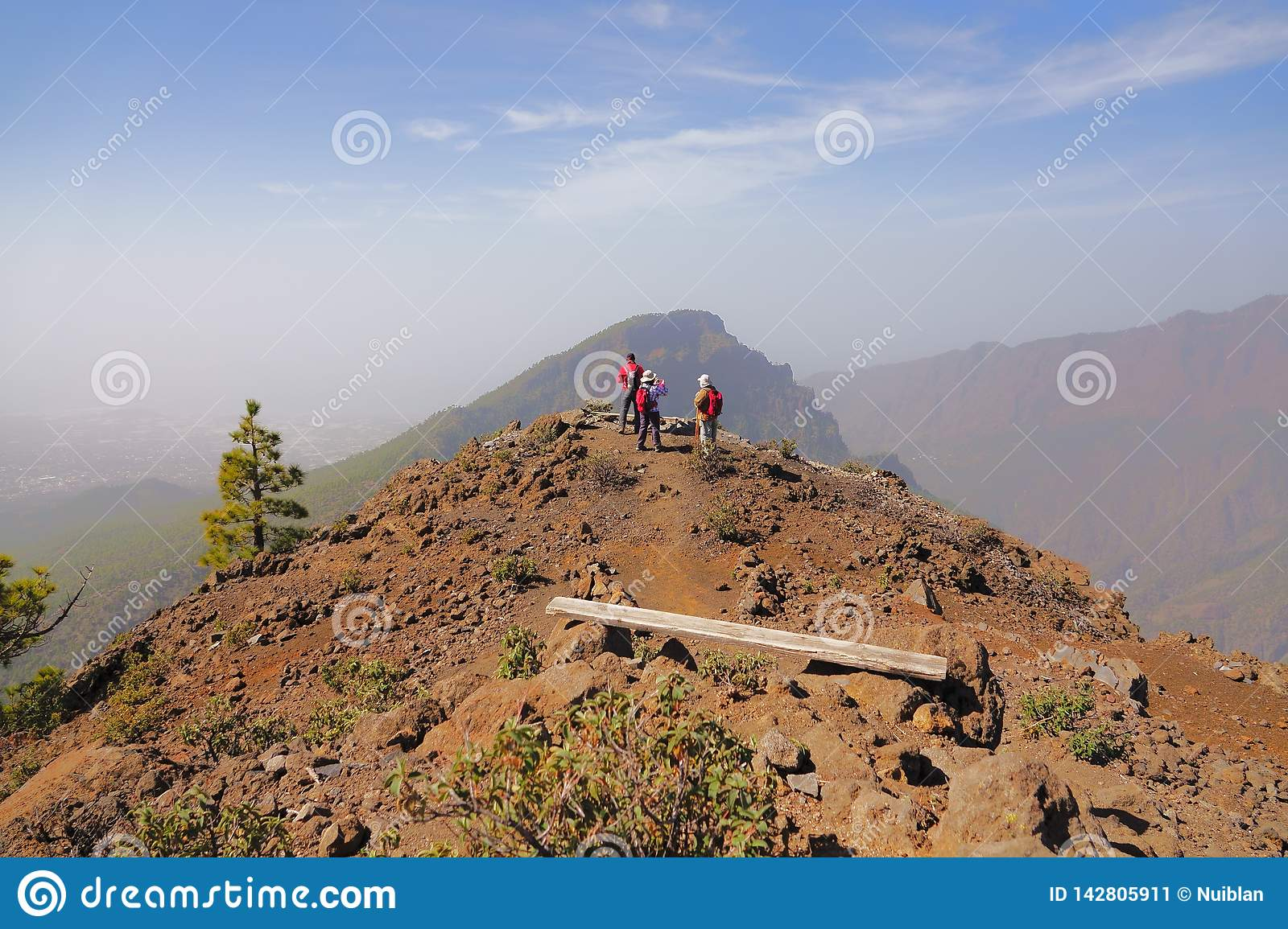 Group of mountaineers on top of a mountain