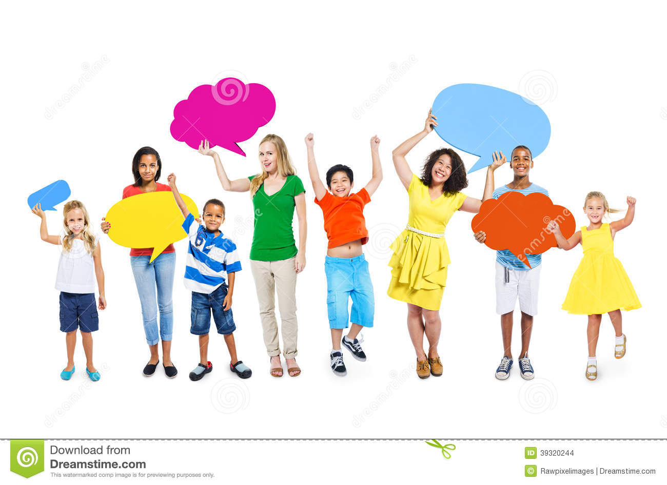 kids of different ages and ethnicities with bac group of ...