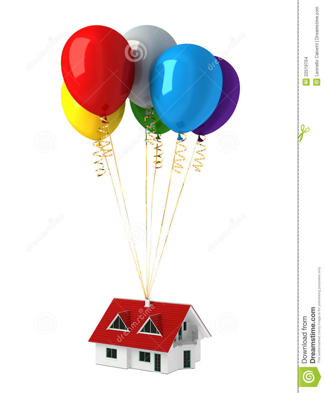 Up House Balloons Group Of Multicolor Balloons Lifting Up A House Stock Images