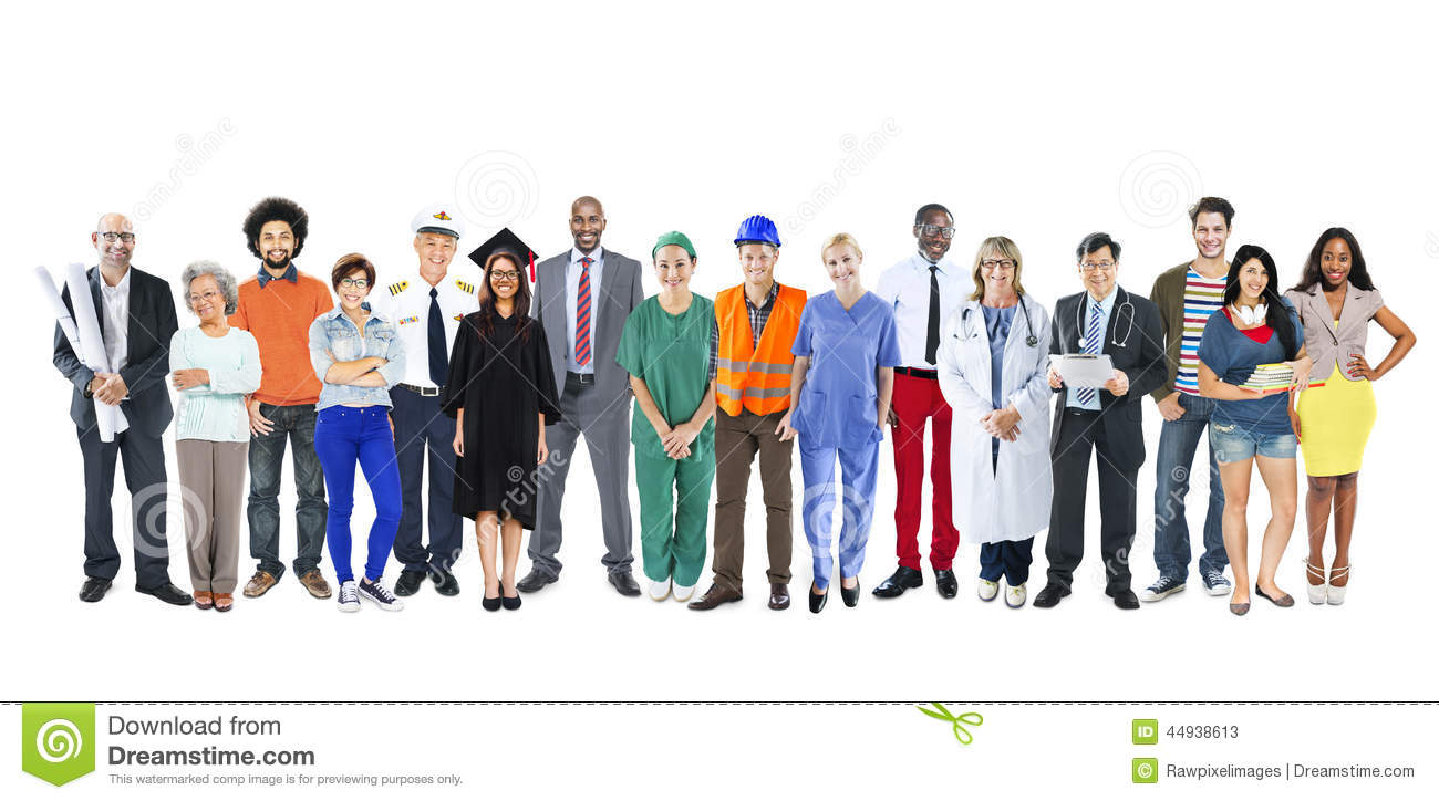 Group Of Multiethnic Mixed Occupations People Stock Photo ...