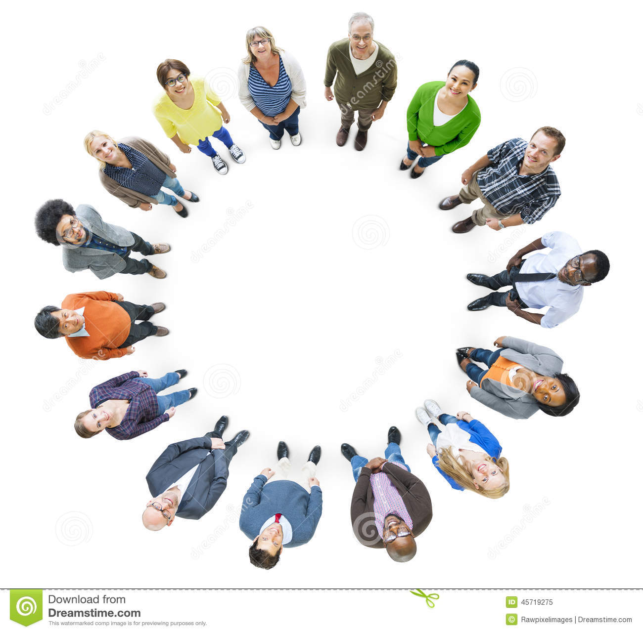 Group Of Multiethnic People In A Circle Looking Up Stock Photo - Image ...