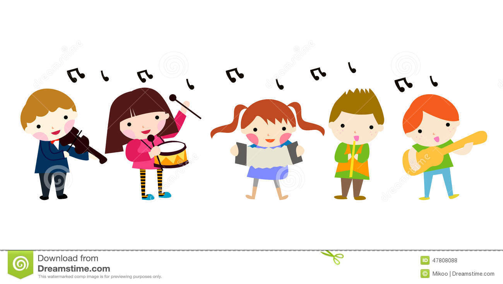group of music children stock vector   image 47808088