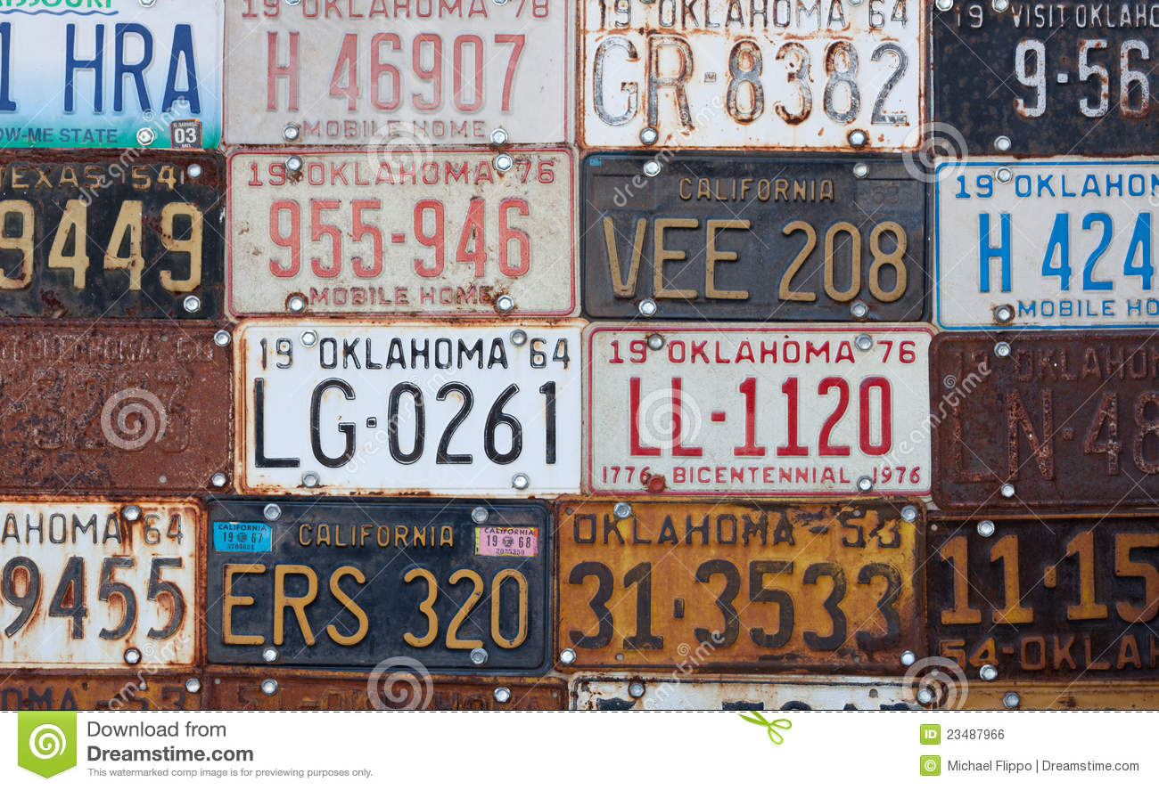 Group Of Old Vintage American License Plates Editorial Photo - Image ...