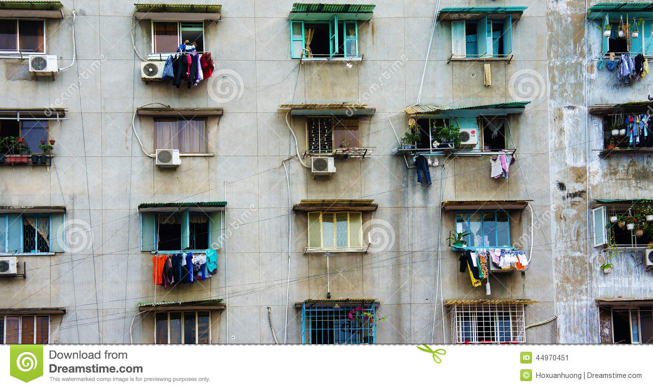 Group Old Window Ho Chi Minh Apartment Building Editorial