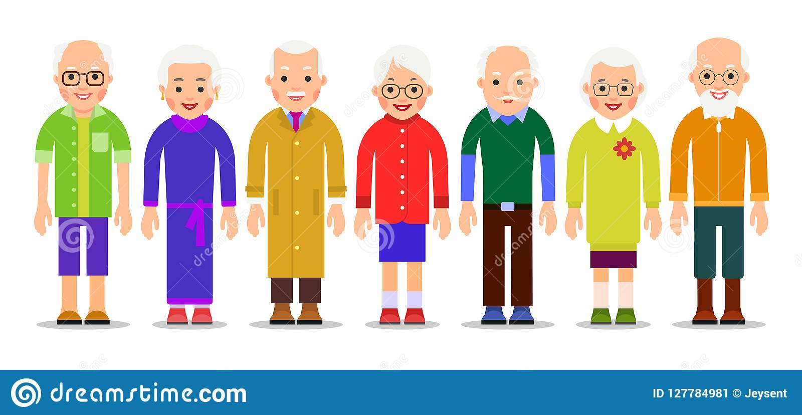 Group older people. Adults person stand next to each other. Elderly men and women. Aged citizens caucasian. Illustration