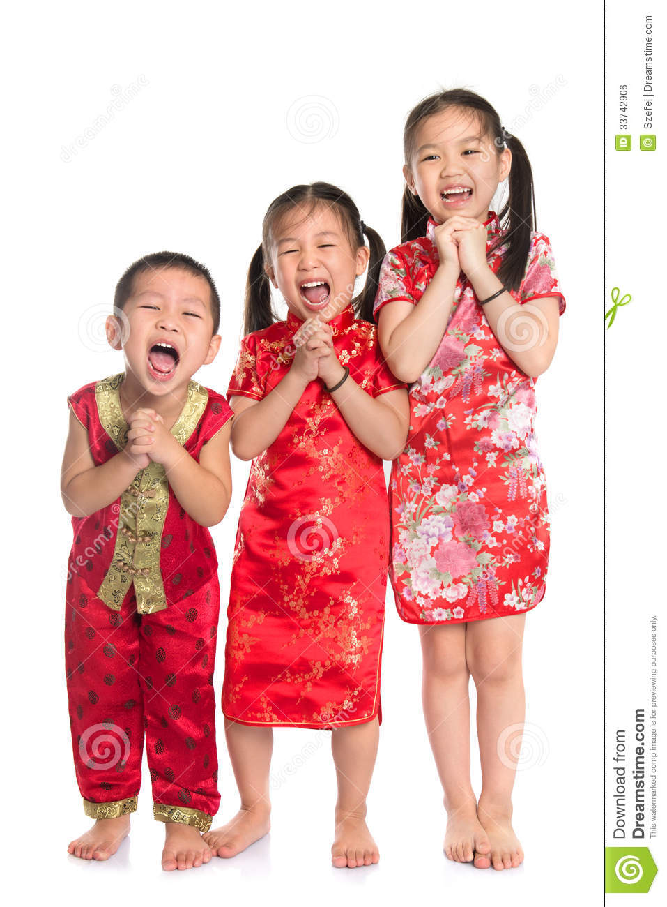 Group of oriental children wishing you a happy Chinese New Year, with ...
