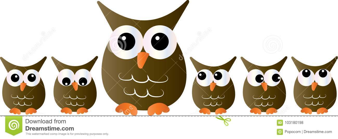 A Group Of Owls In A Line Header Or Banner Stock ...