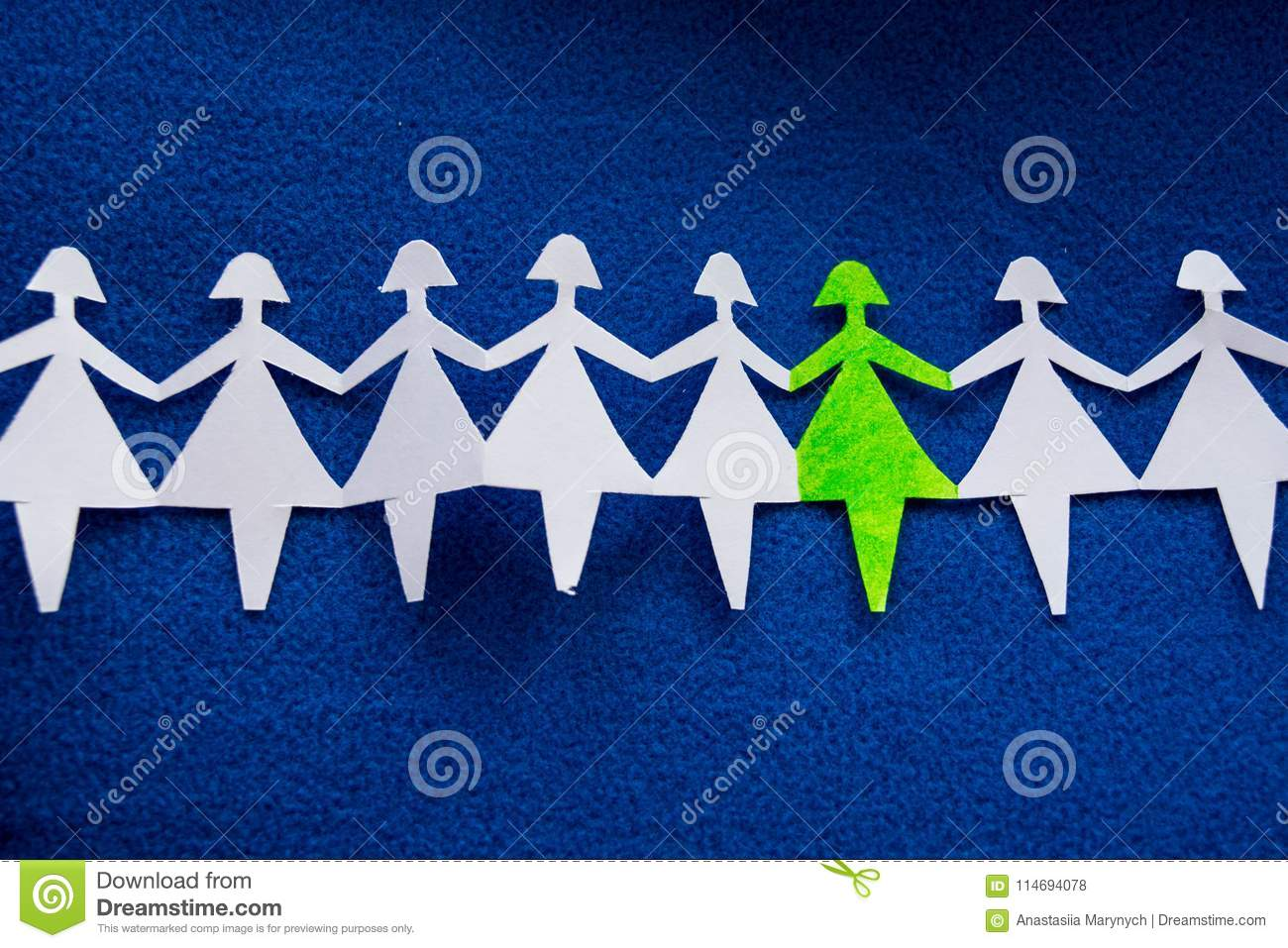 Group of paper women as a concept of togetherness, society etc.