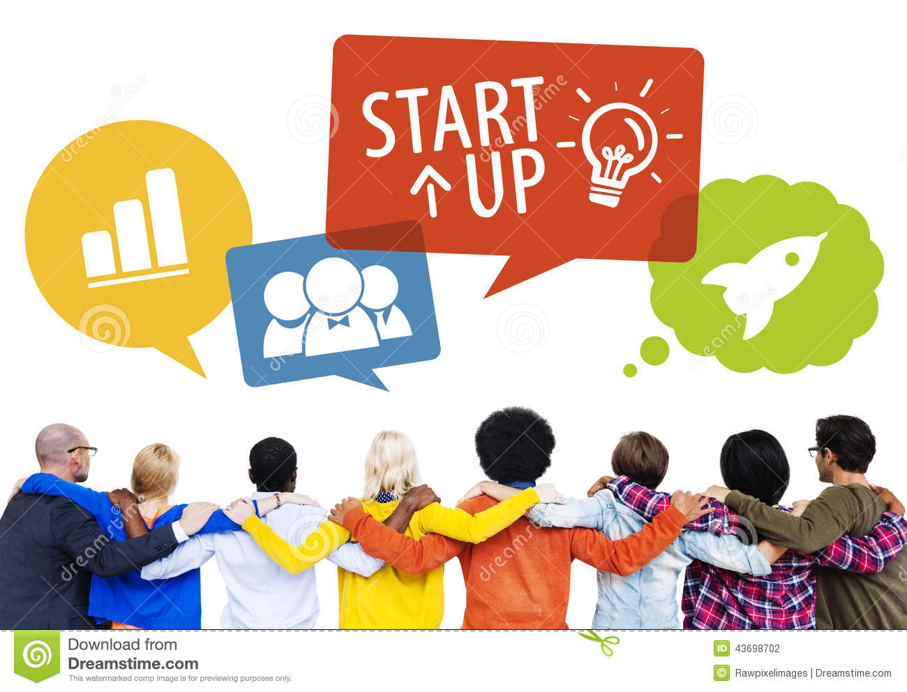 Group Of People Backwards With Startup Concept Stock Photo