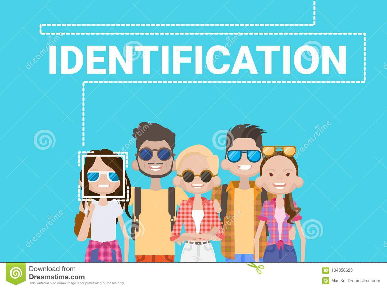 Group Of People Biometric Identification Face Scanning System Modern Access Control Technology Recognition Concept