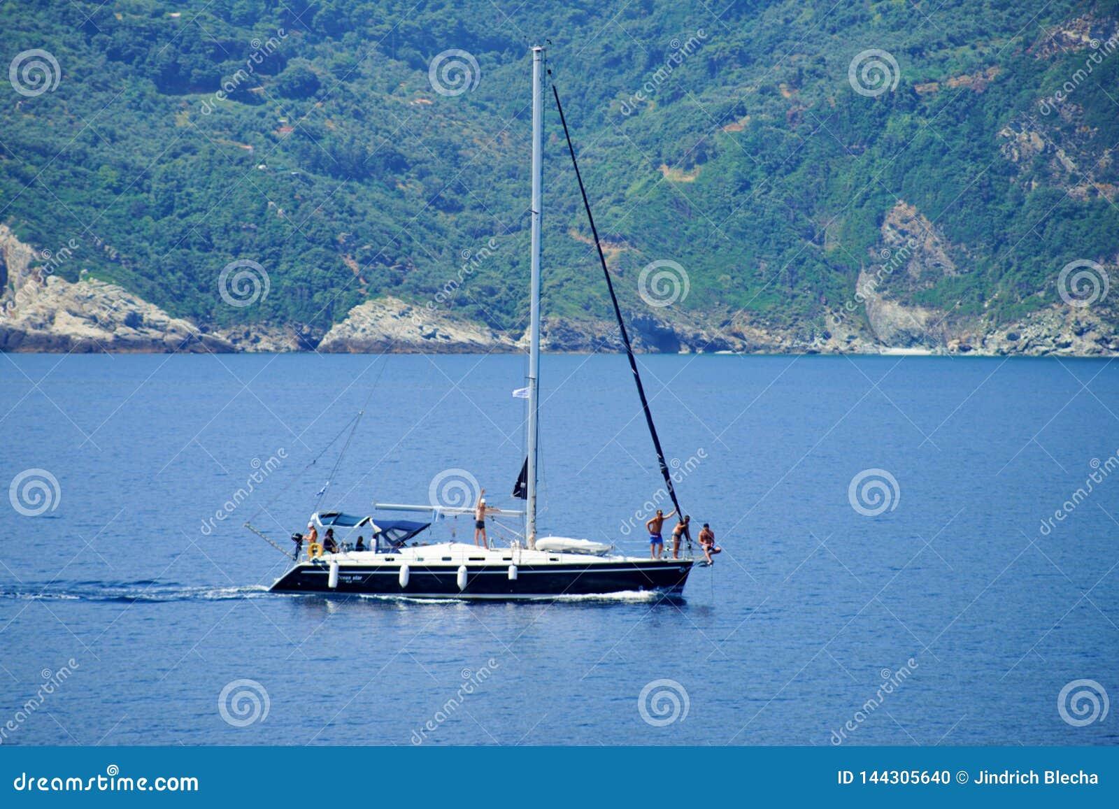 Sailing near Skopelos, Greece