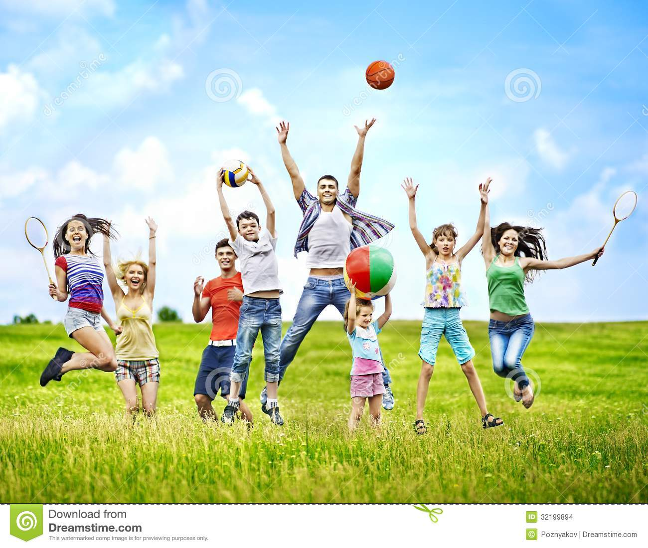 Group People With Children Running Stock Images Image