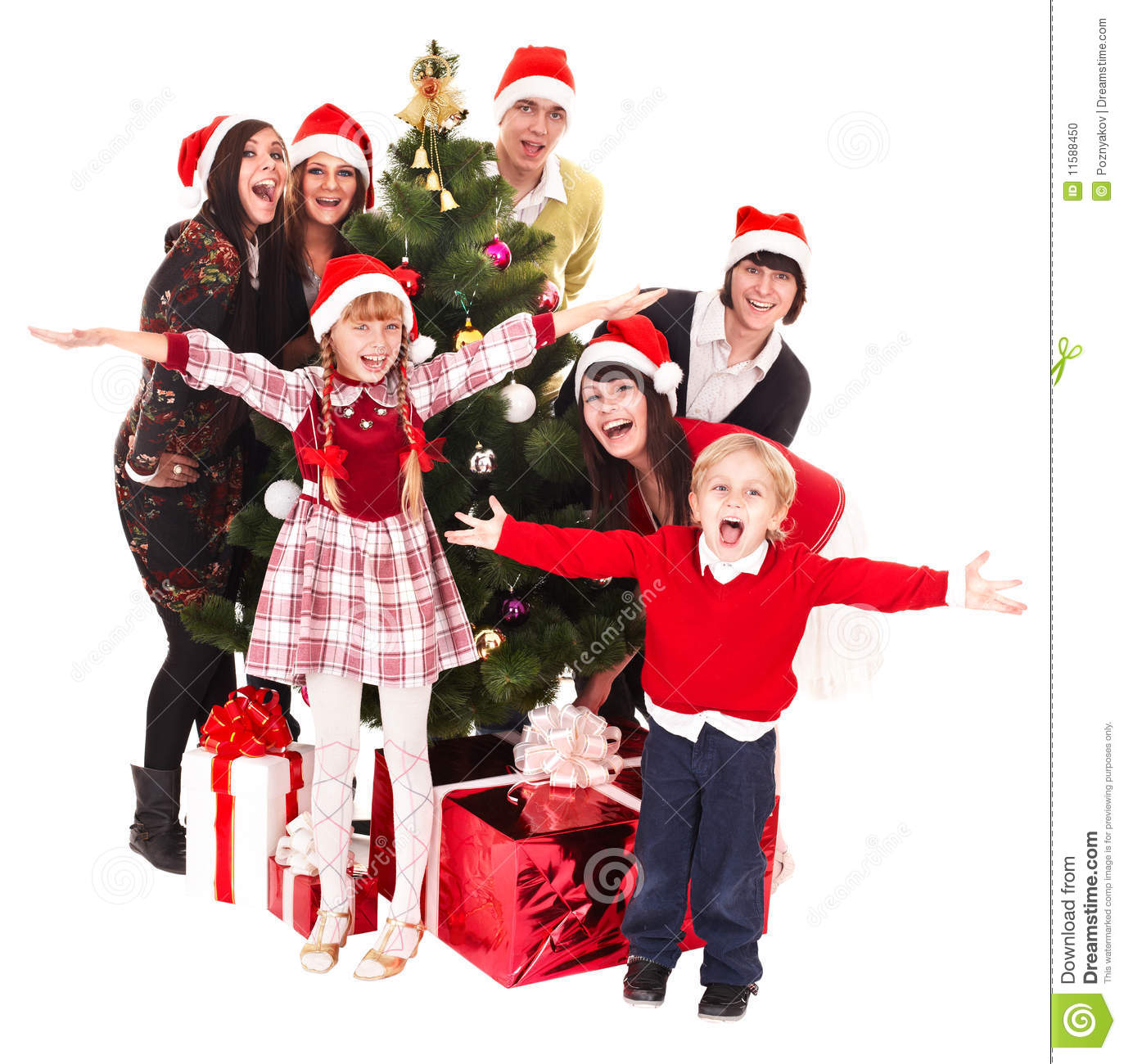 Christmas Children Party: Group People Children In Santa Hat, Christmas Tree Stock