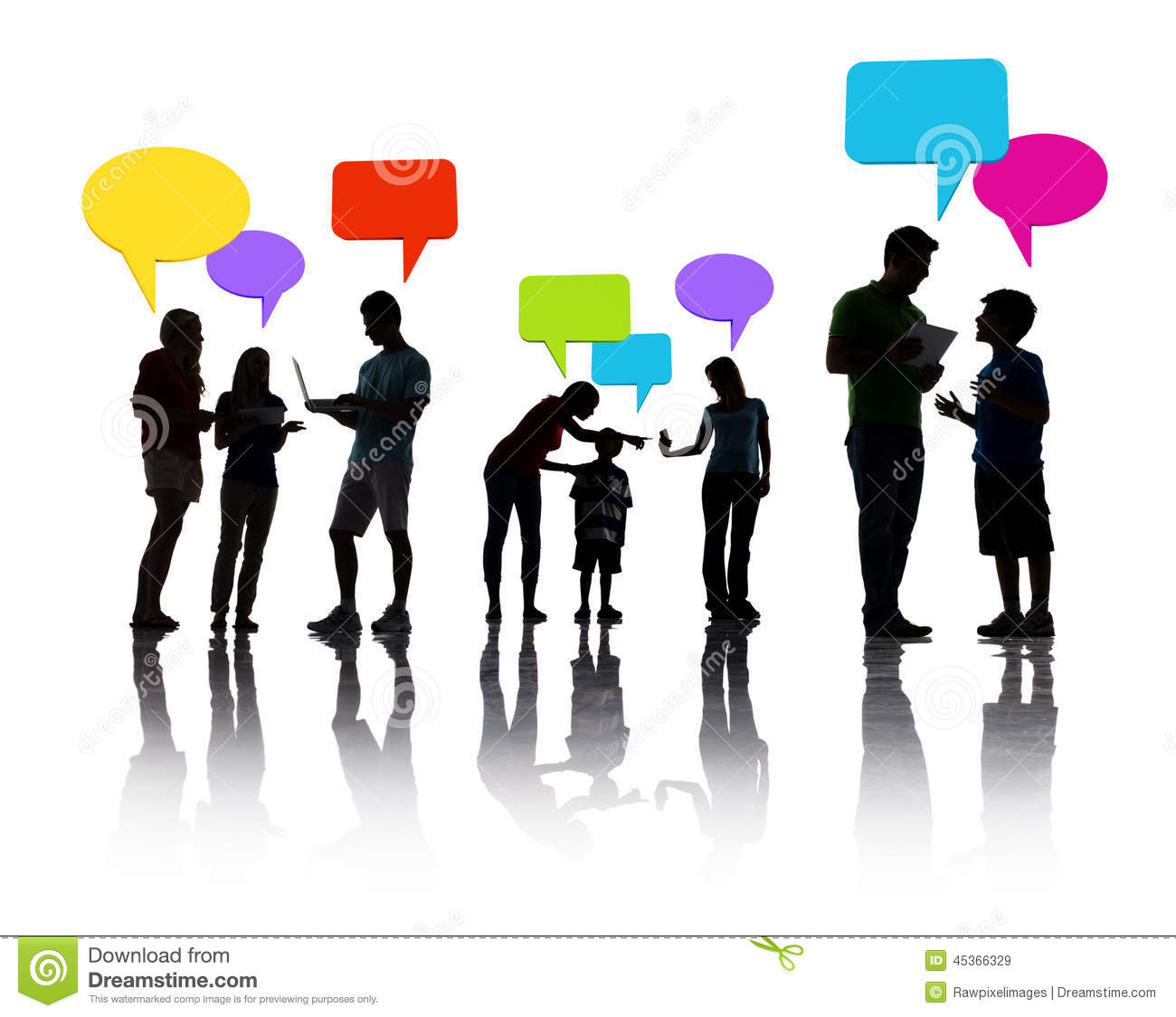 Group Of People Discussing With Speech Bubbles Stock Image
