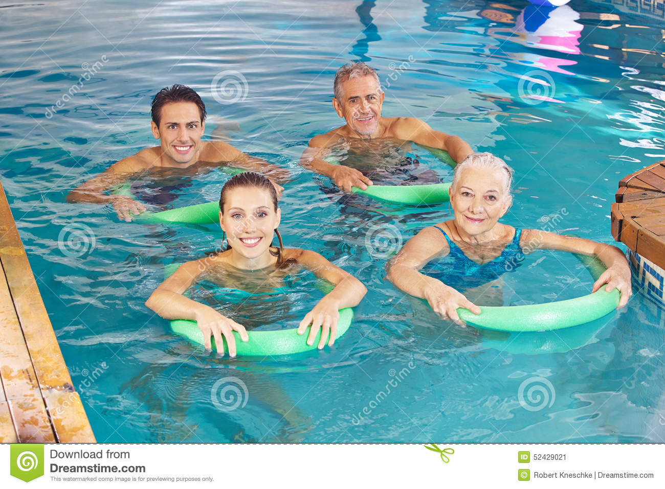 Group Of People Doing Aqua Fitness Class Stock Image Image Of Blue Pool 52429021