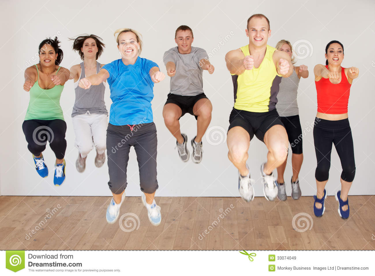 Group Of People Exercising In Dance Studio Royalty Free
