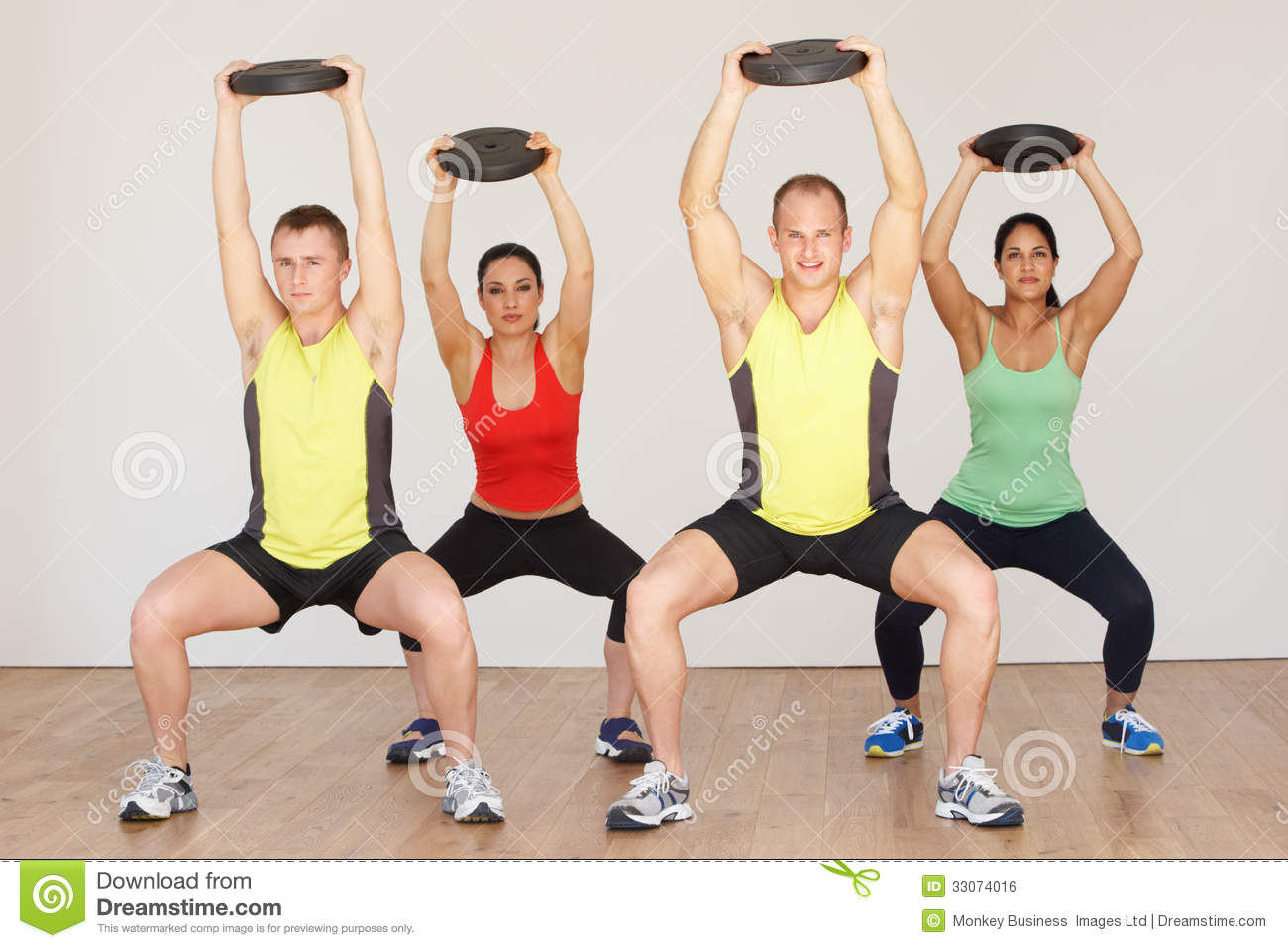 Group Of People Exercising In Dance Studio With Weights Royalty Free ...