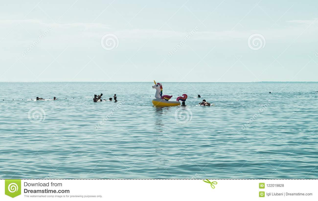 Family enjoing time in the sea