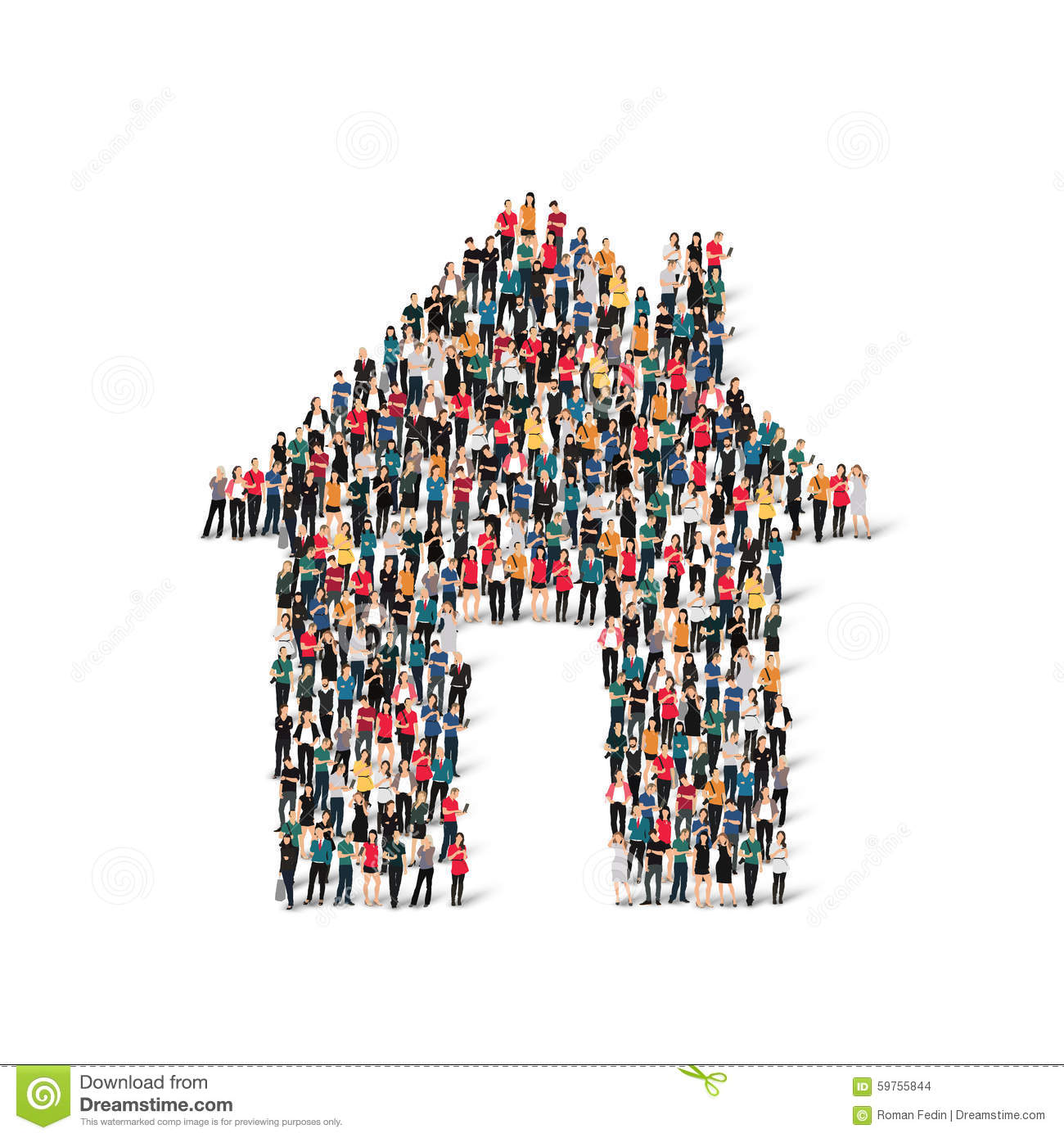 group of people form house stock vector illustration of help 59755844