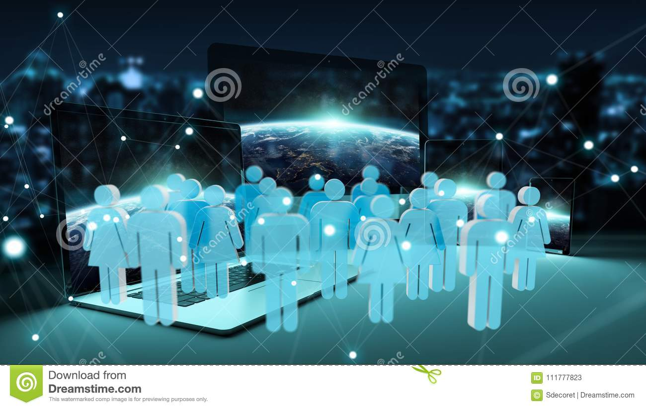 Group of people in front of modern devices 3D rendering