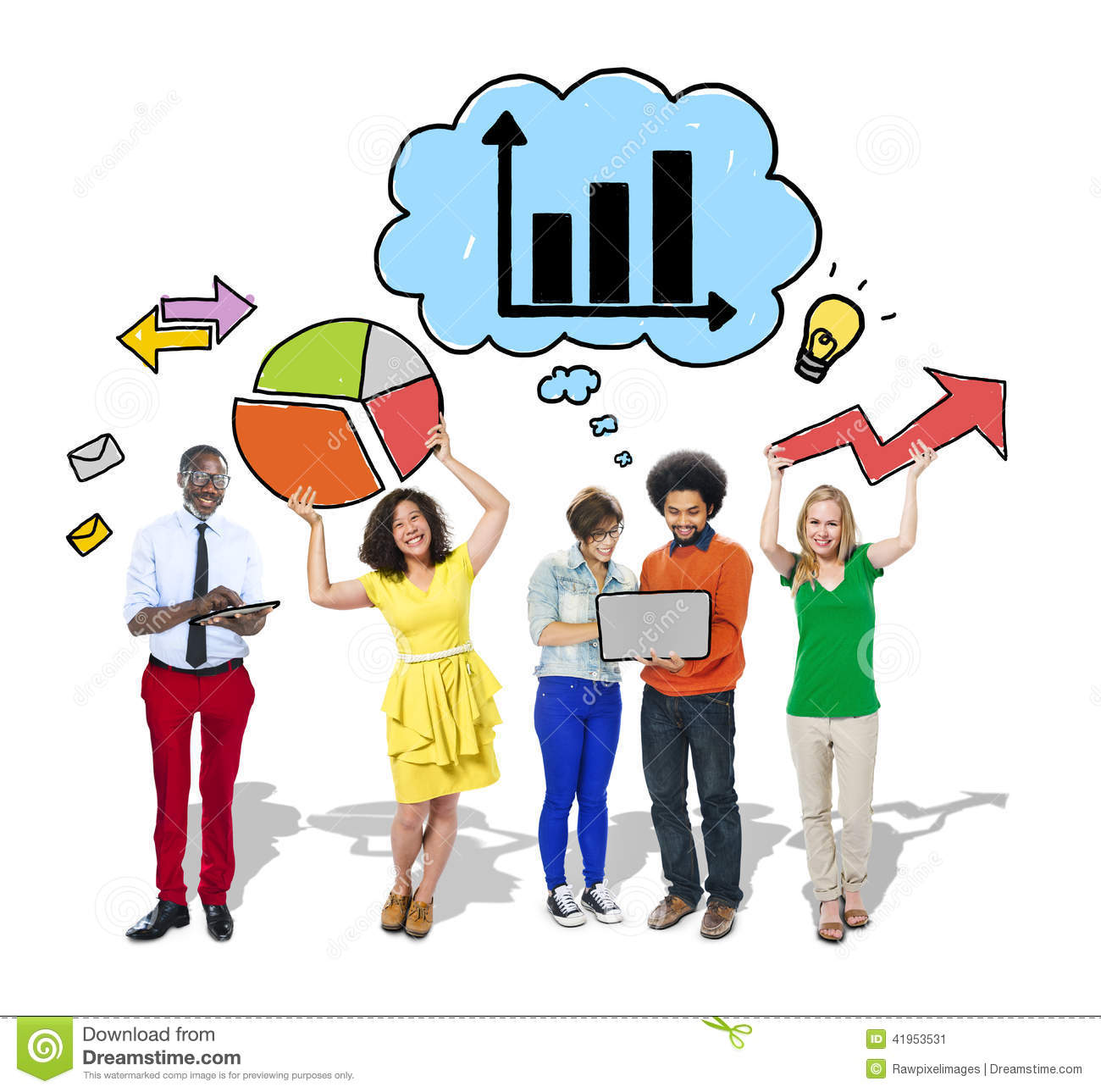 Group Of People With Growth Diagrams Stock Image