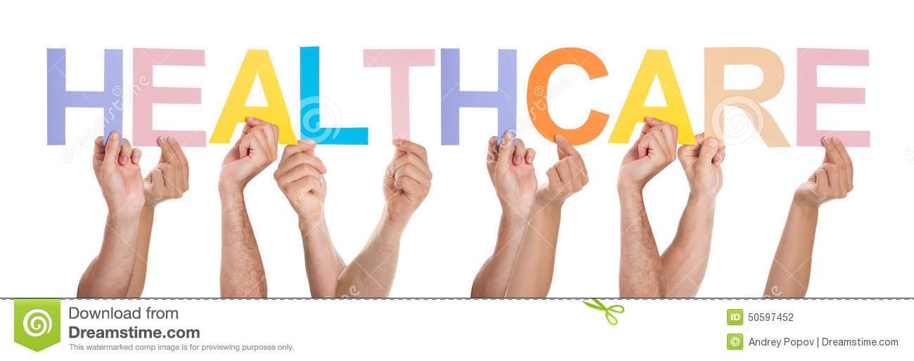 Group Of People Hands Holding Text Healthcare Stock Photo ...