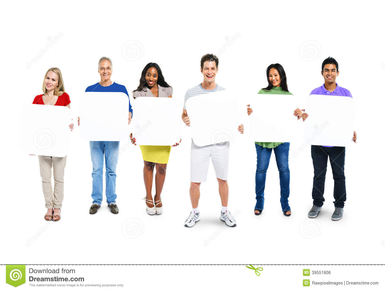 Group Of People Holding 6 Empty Placards Stock Photo