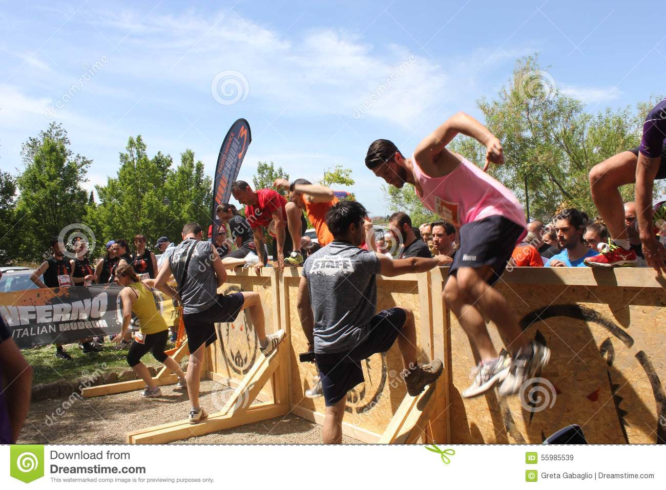 Signa Italy  city photos gallery : SIGNA, ITALY MAY 9 2015: Group of people jumping over an obstacle ...