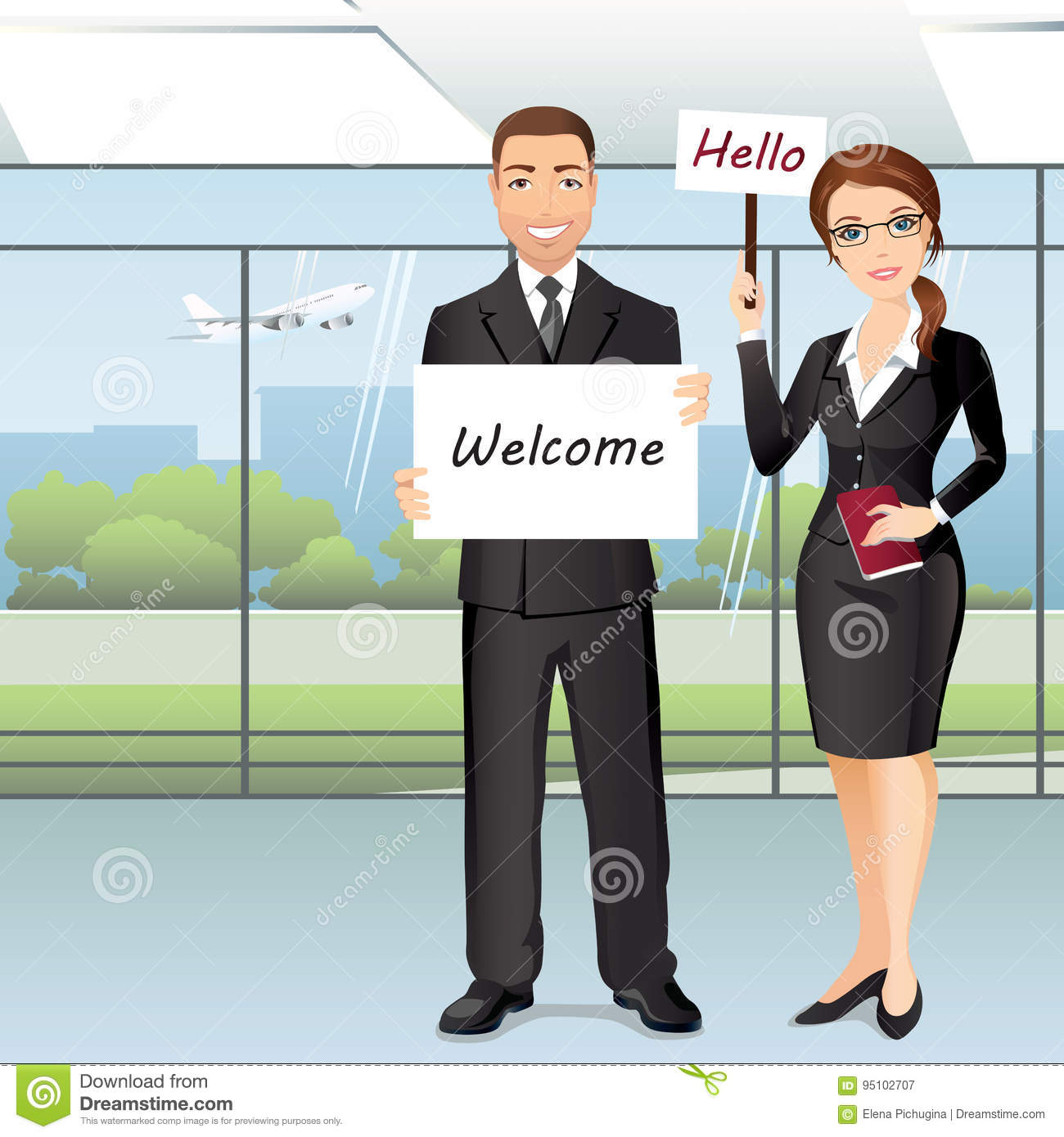 Group Of People Meet Someone In Airport Hall Stock Vector