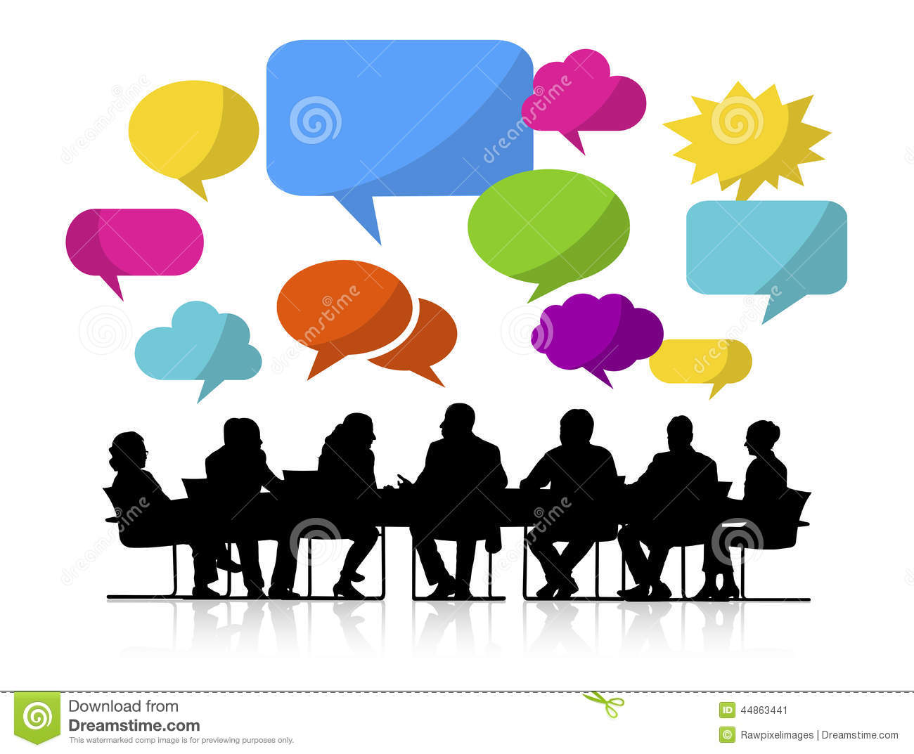 Group Of People Meeting With Speech Bubbles Stock