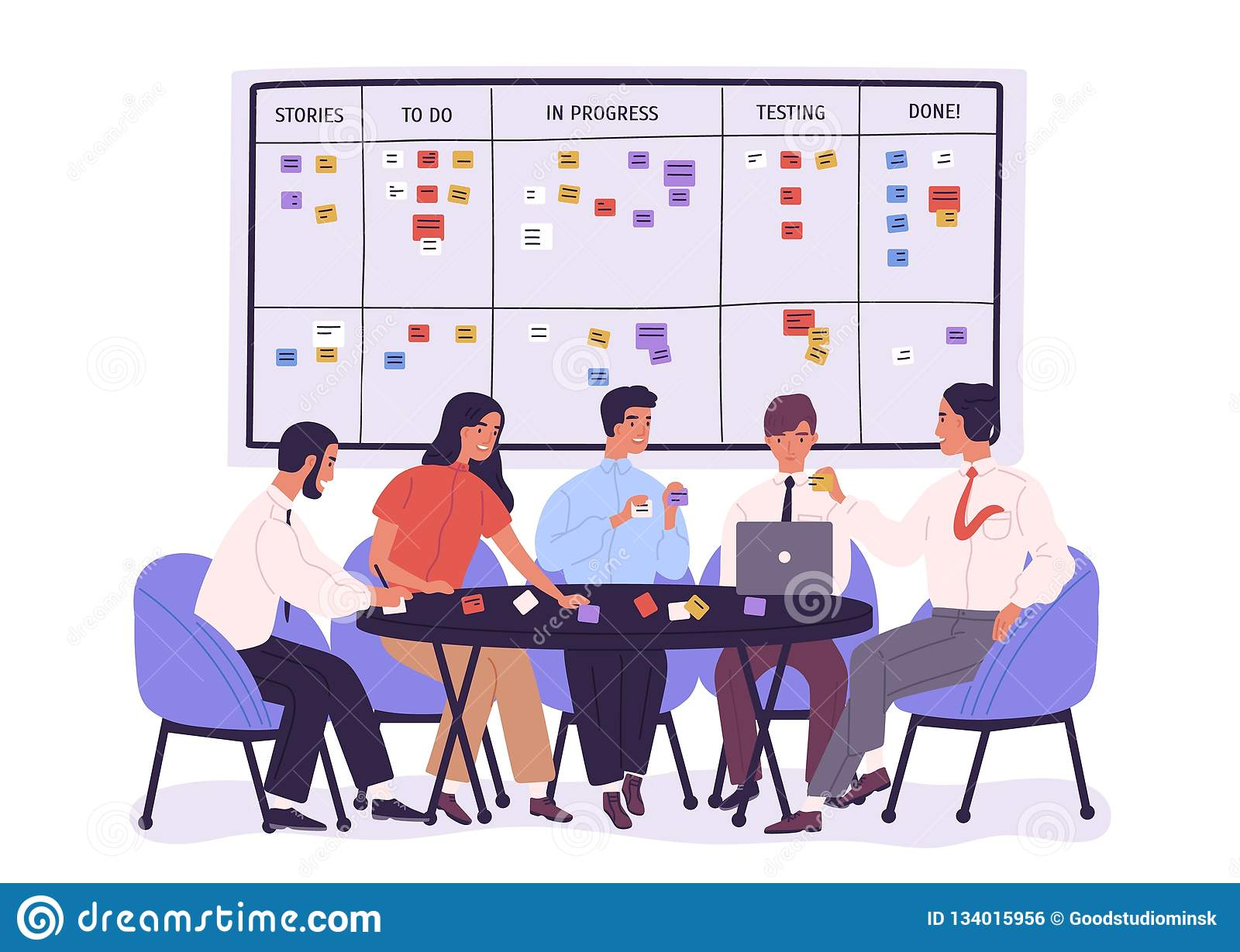 Group of people or office workers sitting around table and discussing work issues against SCRUM task board with sticky
