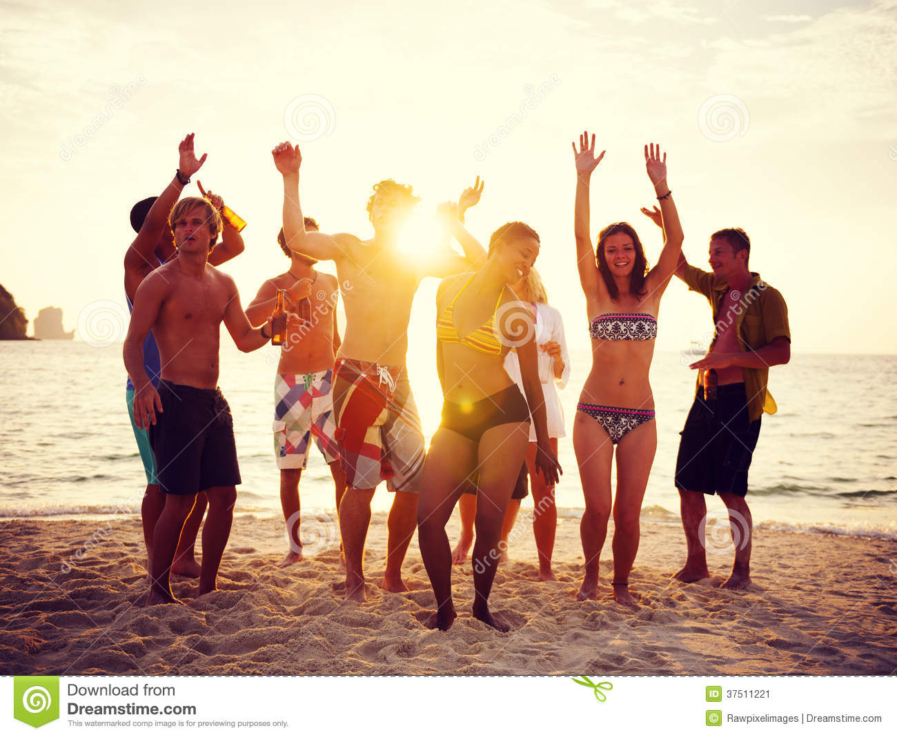 group of people party on the beach stock image   image 37511221
