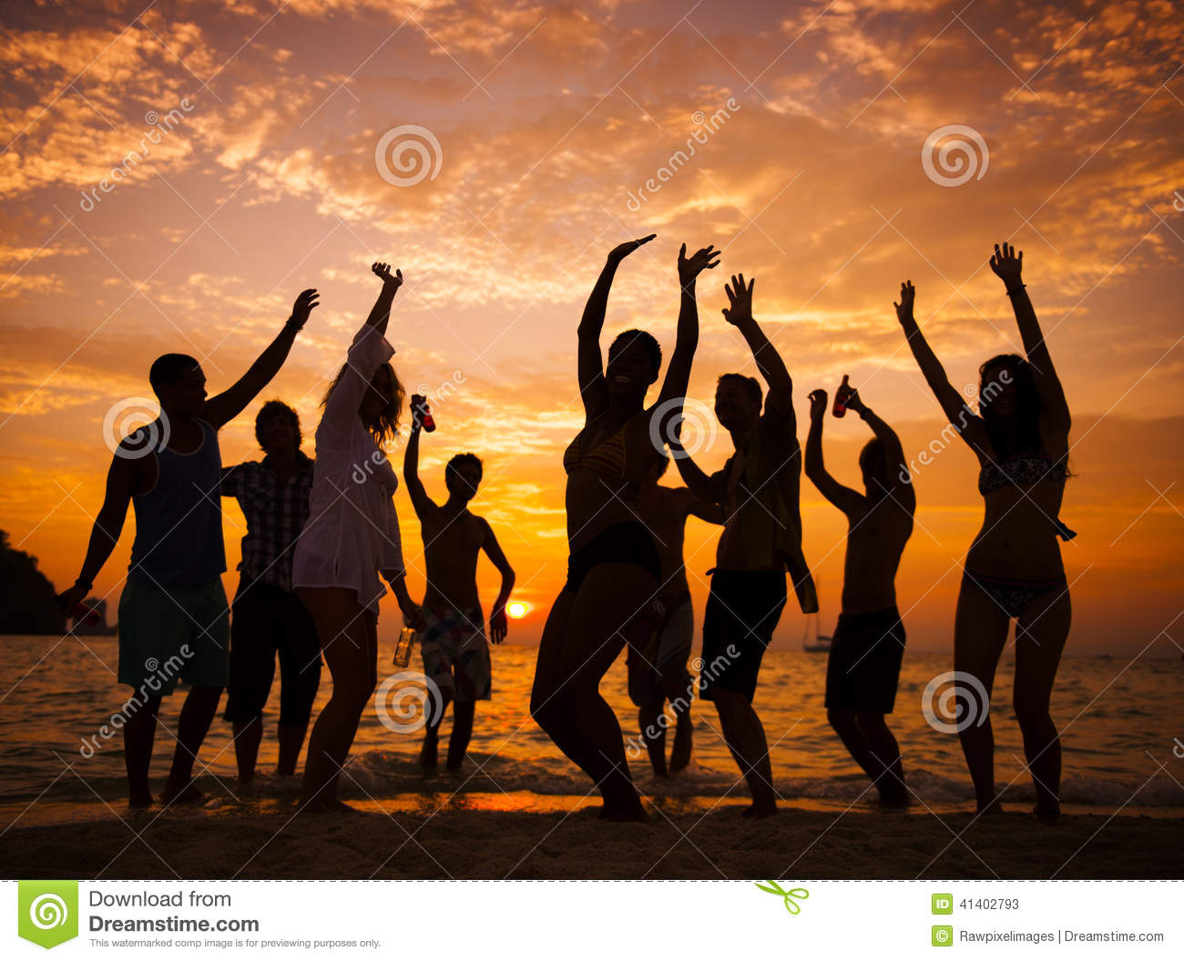 Group of people party on the beach