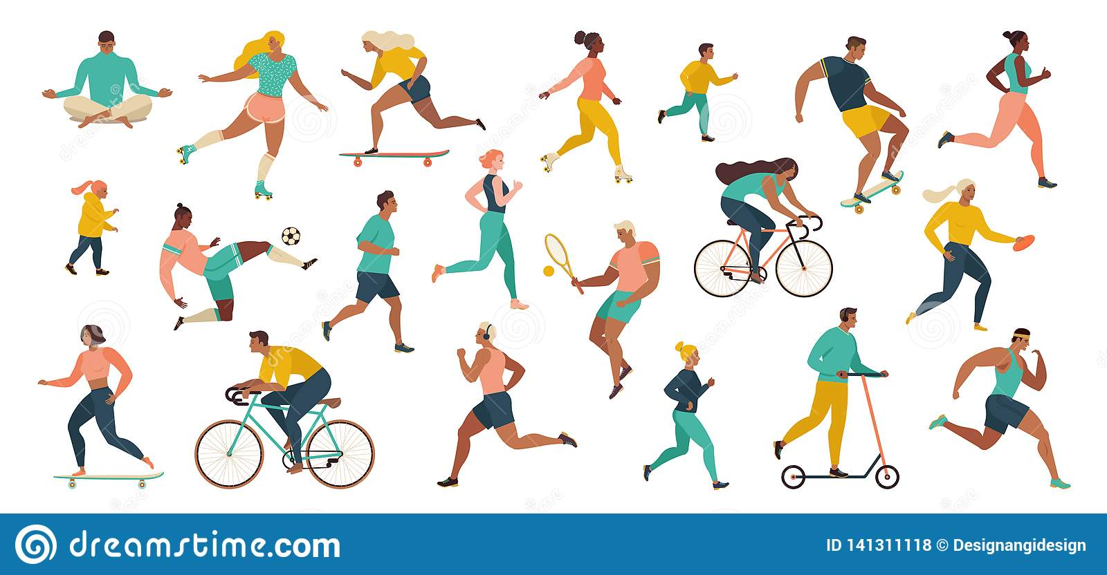 Group of people performing sports activities at park doing yoga and gymnastics exercises, jogging, riding bicycles, playing ball