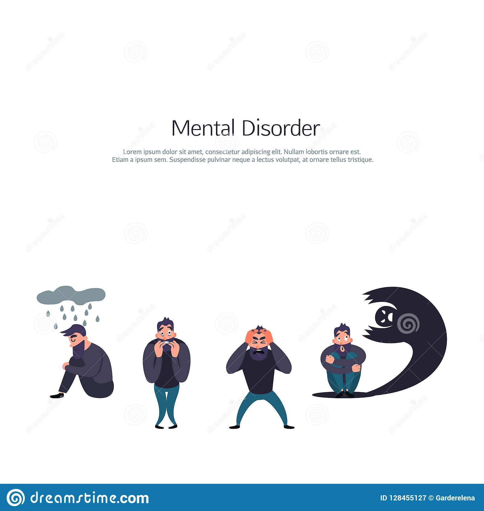 Group of people with psychology or psychiatric problem. Phobia, suicide, fear and other mental disorder