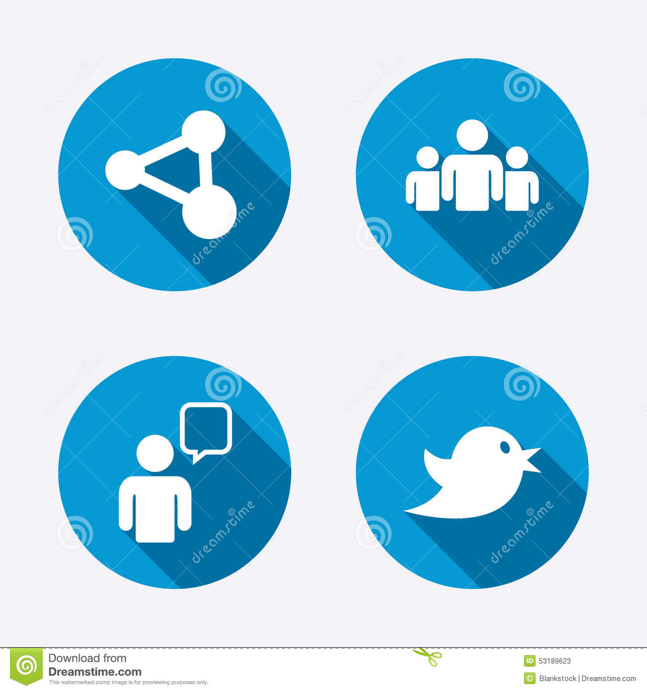 Group Of People And Share Icons Speech Bubble Twitter Retweet Symbols Communication Signs Circle Concept Web Buttons Vector