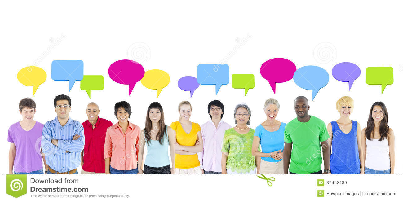 group of people sharing ideas stock image image of large bubble