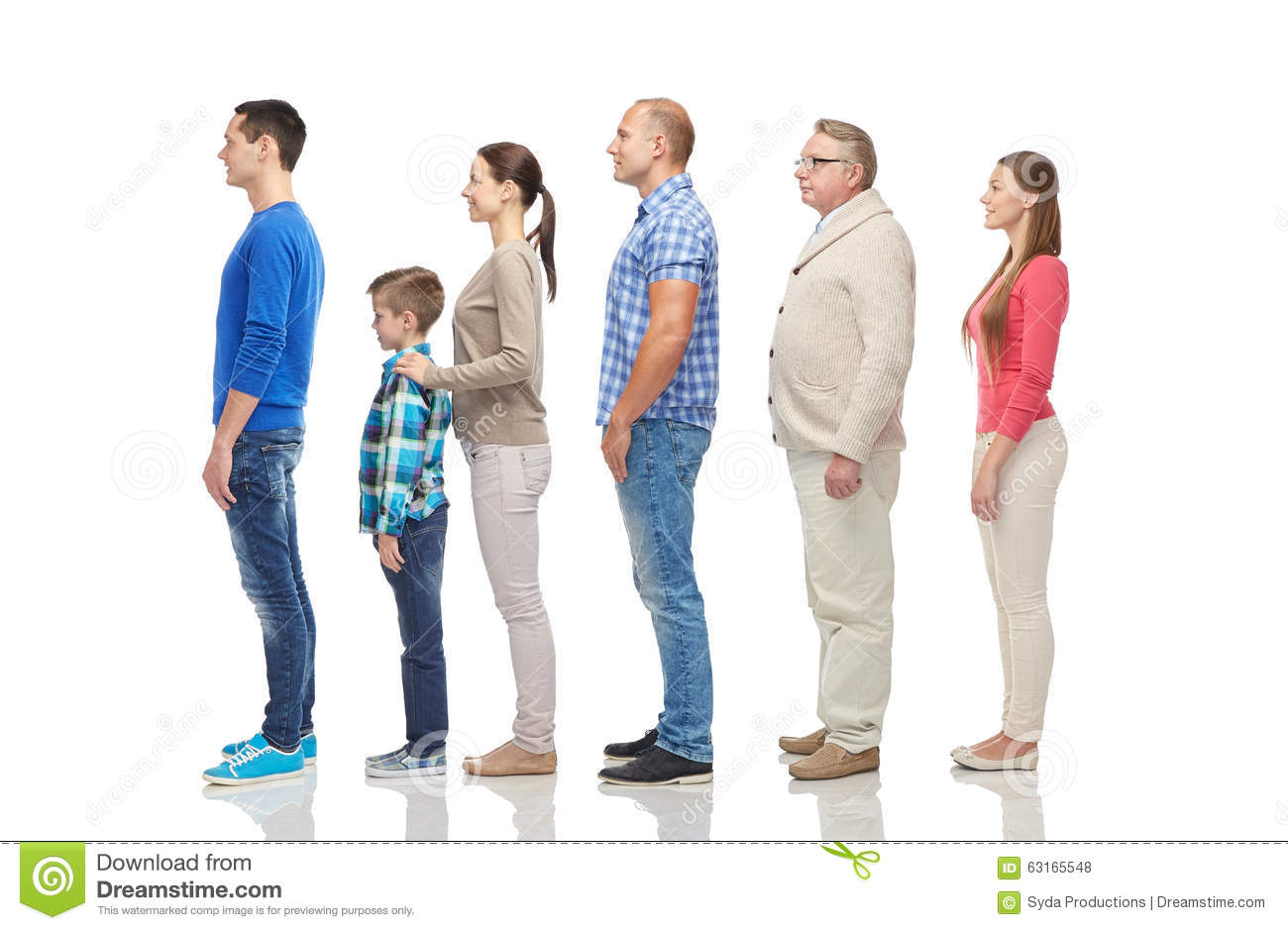 Group Of People From Side Stock Photo Image 63165548