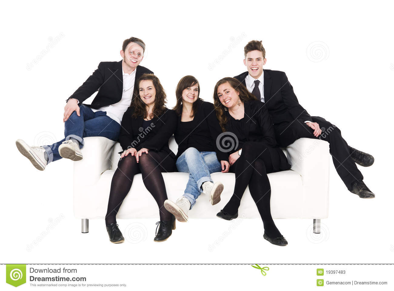 Group Of People In A Sofa Stock Photos Image 19397483