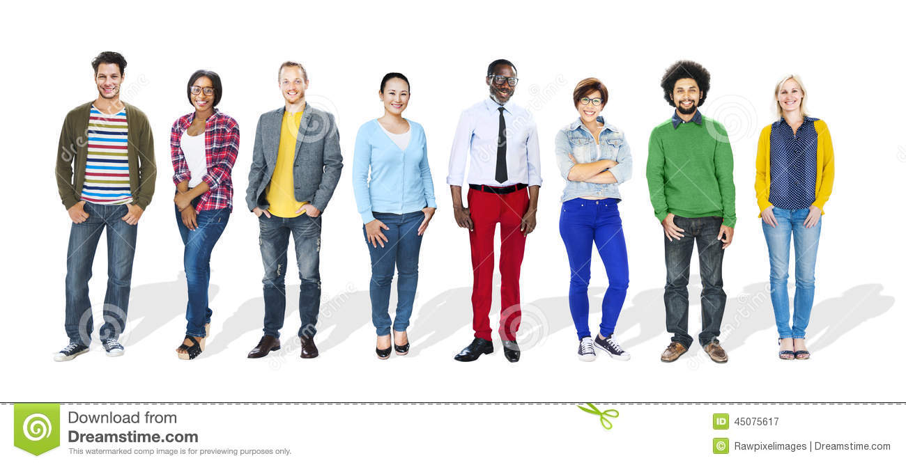 Group Of People Standing In A Row Stock Photo Image