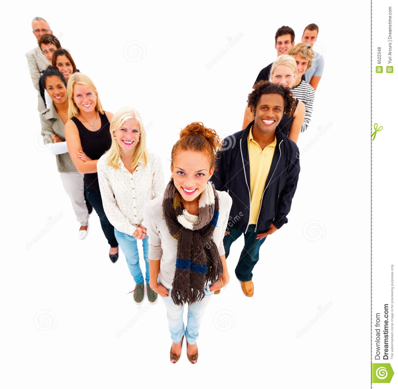 Group Of People Standing In A V,isolated Stock Photo