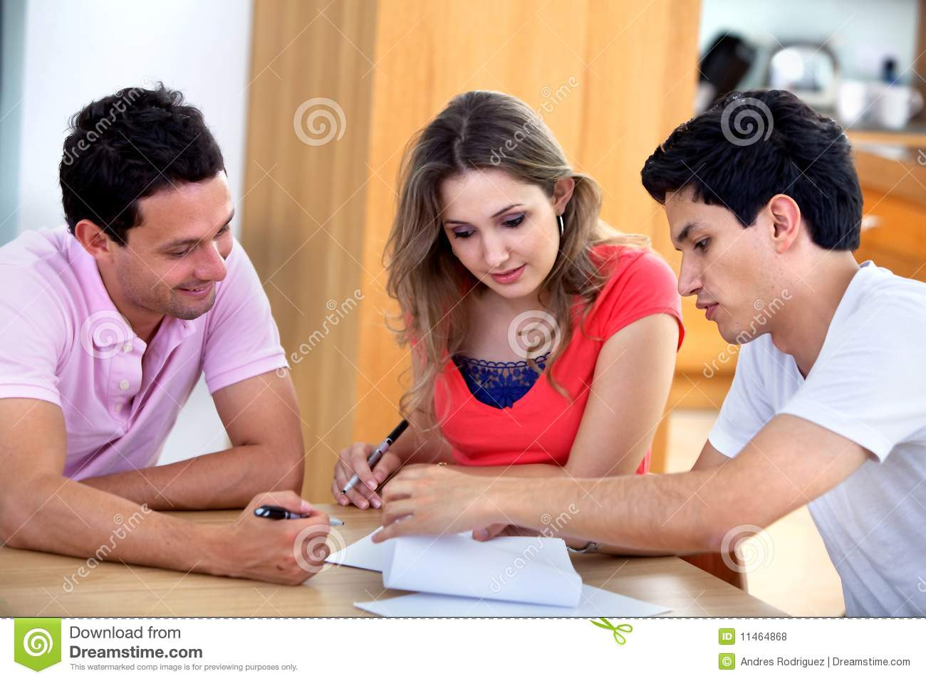 Group Of People Studying Stock Photo Image Of Cheerful