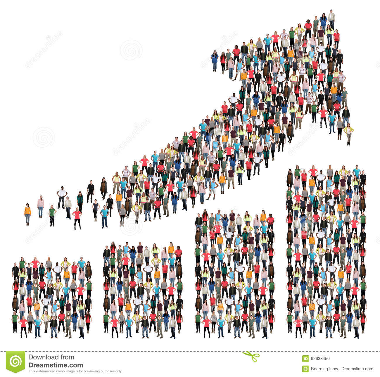 Group of people success business profit growth chart arrow sales