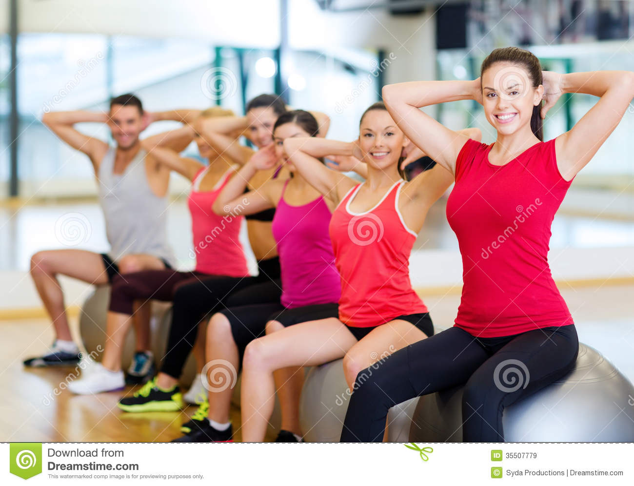 Group of people working out in pilates class royalty free for Gimnasio sport gym